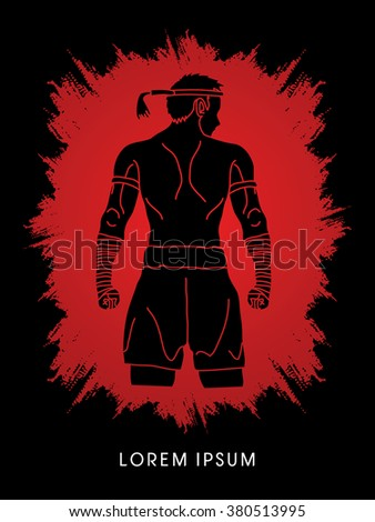 Muay Thai, Thai Boxing, Sport pose, design on grunge frame background graphic vector. - stock vector