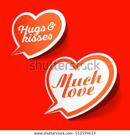 Much love and hugs & kisses speech bubbles, Valentines Day celebration design element, vector illustration