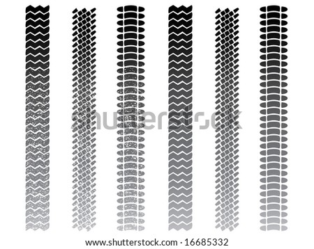 Muddy and clean tyre track sets - stock vector