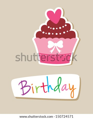 muffin birthday card - stock vector