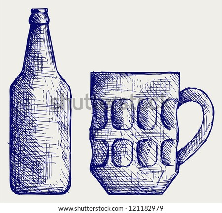 Beer Pencil Drawing Mug And Bottle Beer