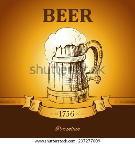 mug of beer.  - stock vector