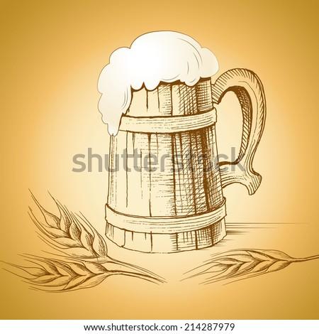 mug of beer. foamy beer. Oktoberfest - stock vector