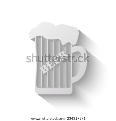 mug of beer vector icon - paper illustration - stock vector