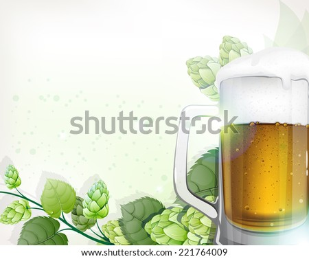 Mug of beer with foam and hops branch on a green background. Oktoberfest abstract background - stock vector