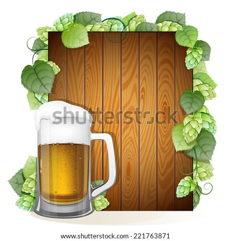 Mug of beer with foam cap on a wooden background decorated with green hops branch. Abstract Oktoberfest background - stock vector