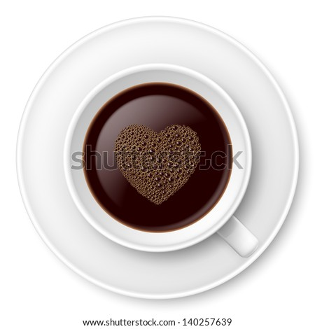 Mug of coffee with foam and saucer. Illustration on white