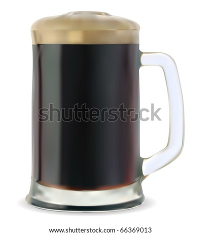 Mug of dark beer on a white background vector