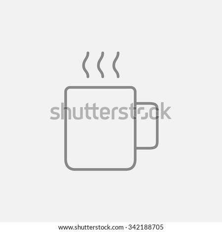Mug of hot drink line icon for web, mobile and infographics. Vector dark grey icon isolated on light grey background. - stock vector
