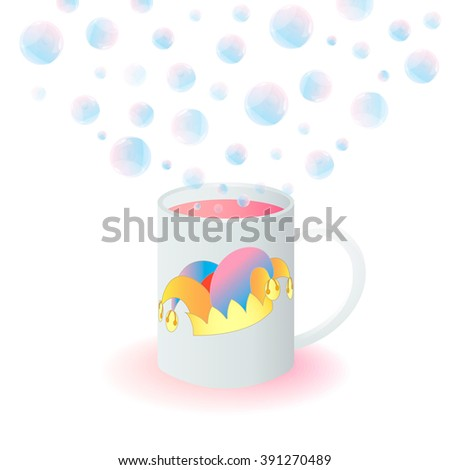 Mug with a Jester's Hat and Magic Bubbles - stock vector