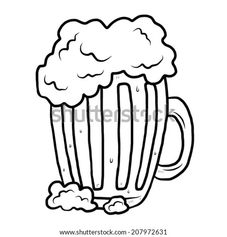 mug with beer / cartoon vector and illustration, black and white, hand drawn, sketch style, isolated on white background. - stock vector