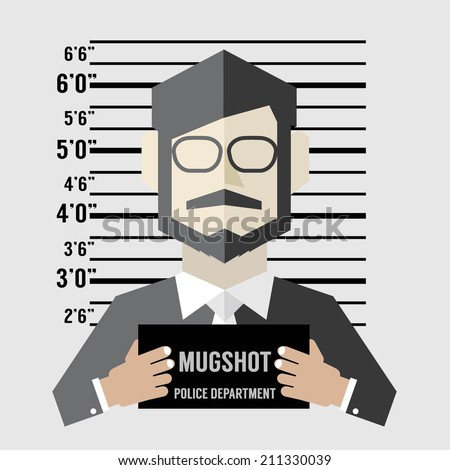 Mugshot Of Businessman Vector Illustration - stock vector