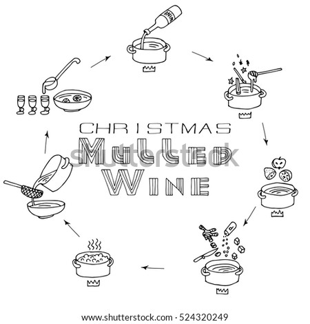 Mulled Wine Hand Drawn Recipe. Winter and Christmas Hot Drink theme. Vector illustration with text.