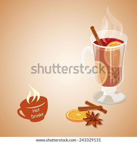 Mulled wine. Hot drinks icon. Vector illustration with punch - stock vector