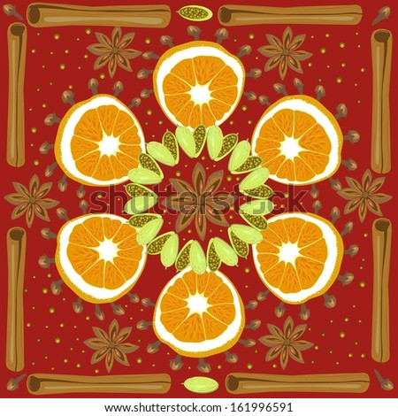 Mulled wine pattern - stock vector