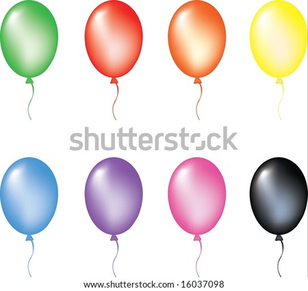 Multi color balloons. Vector illustration. isolated on white background, EPS8, all parts closed, possibility to edit. - stock vector