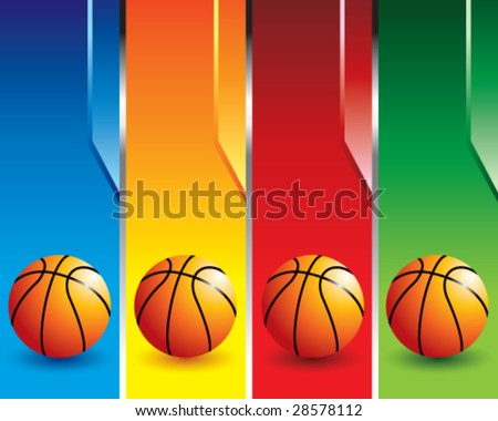 Multi Colored Basketballs Multi Color Basketball Banners