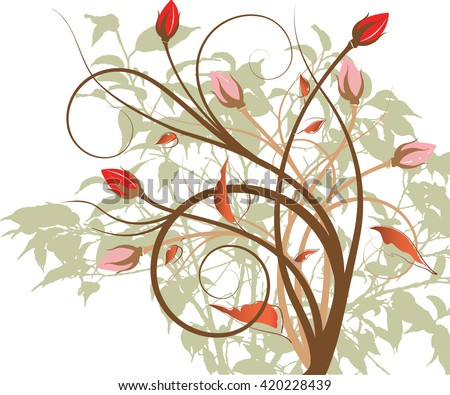 multi-color flower design art work vector - stock vector