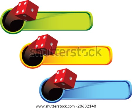 multi color thrown dice web banner - stock vector
