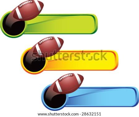 multi color thrown football web banner - stock vector