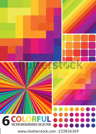 Multi-colored Abstract Backgrounds Collection  - stock vector