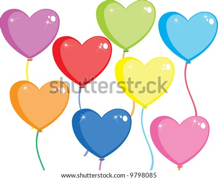 Multi-colored balloons in the form of heart on a white background