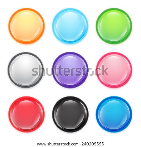 Multi-colored buttons. Set of multicolored transparent buttons.