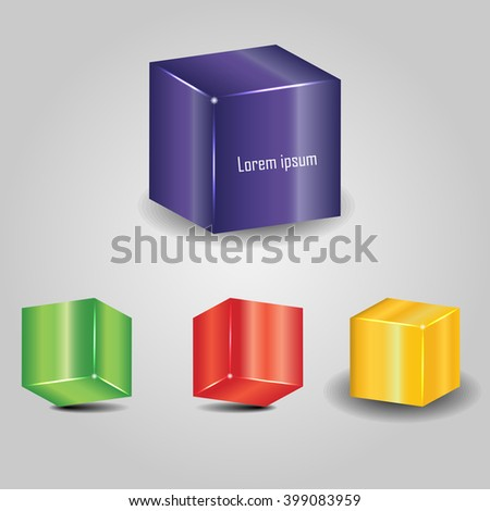 multi-colored cubes on a gray background - stock vector