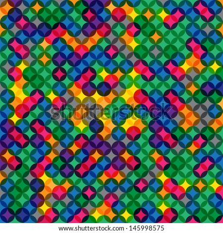 Multi-colored Dots Overlay Pattern - stock vector