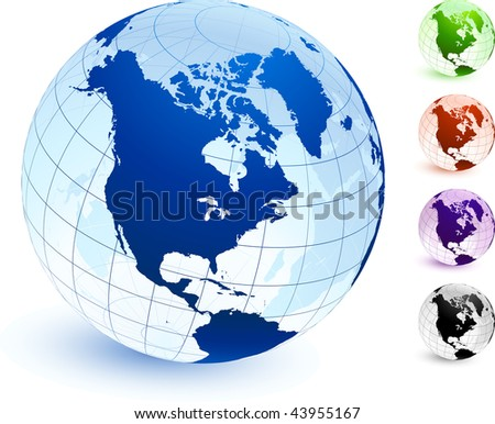 Multi Colored Globe set Original Vector Illustration Globes and Maps Ideal for Business Concepts - stock vector
