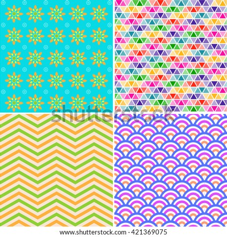 Multi colored hand drawn vintage pattern. - stock vector