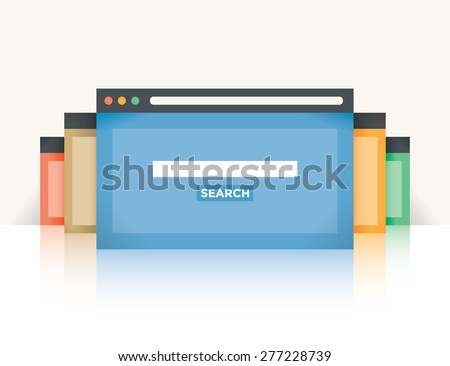 Multi colored internet browser windows with web search site page and copy space for your text in search box.  Idea - Internet search, Online shopping. - stock vector