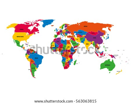 World map with country names stock images royalty free images multi colored political vector map of world with national borders and country names on white gumiabroncs Gallery