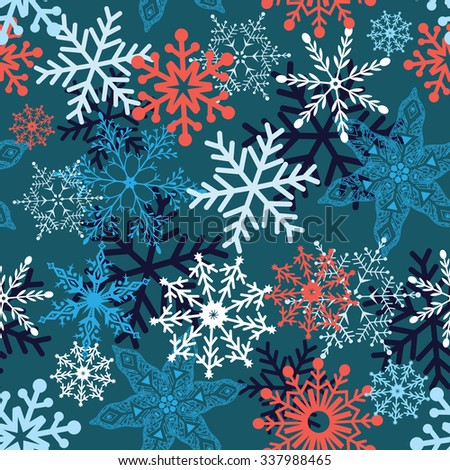 Multi-colored snowflakes form a beautiful pattern vector illustration - stock vector