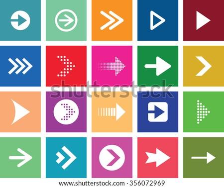 multi coloured arrow set - stock vector