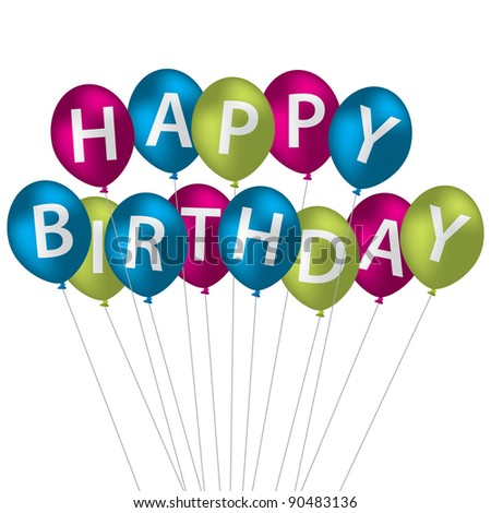 Multi coloured bright balloon bunch Happy Birthday card in vector format. - stock vector