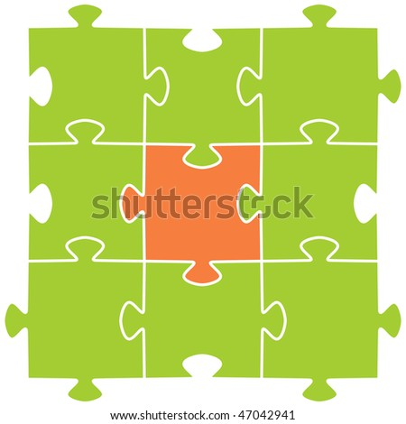 Multi-coloured puzzles on a white background. Vector illustration - stock vector