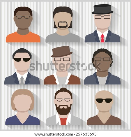 Multi Cultural Businessmen and Men Male Flat Icons with Shadows Layered and grouped contains blends