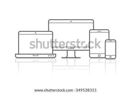 Multi Device Icons: smartphone, tablet, laptop and desktop computer. Vector illustration of responsive web design. - stock vector