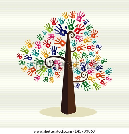 Multi-ethnic colorful hand prints tree over stripe pattern background. Vector file layered for easy manipulation and custom coloring. - stock vector