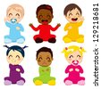 Multi-ethnic group of six children in colorful baby suits making different expressions - stock vector