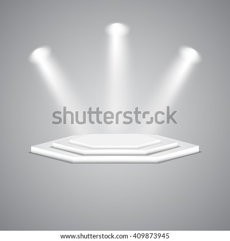 Multi-faceted podium with spotlights. Empty multi-faceted scene with floodlights. White multi-faceted stage with projectors. Polygonal empty white podium with spotlights. Vector polygonal podium.