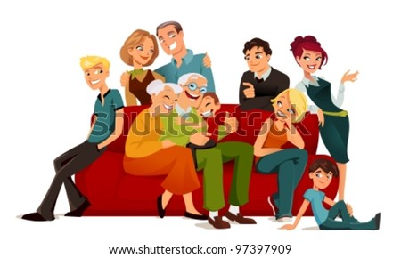 multi-generation family posing on a red sofa - stock vector