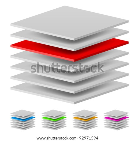 Multi layers. Illustration of the designer on a white background - stock vector