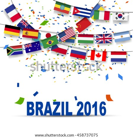Multi nation Bunting flag with confetti , concept for Brazil summer sport tournament