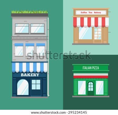 Multi-storey building with roof terrace and a shop on the ground floor. Flat style vector illustration.