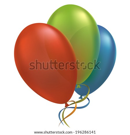 Multicolor air flying balloon isolated on white background - stock vector