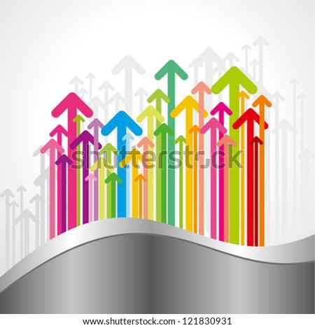multicolor arrows set - stock vector