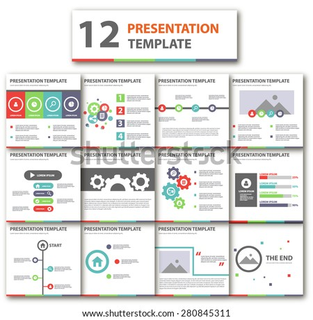 Multicolor Business Template brochure flyer design Set Presentation - stock vector