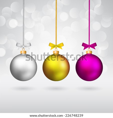 Multicolor christmas balls with bows on sparkling background. - stock vector